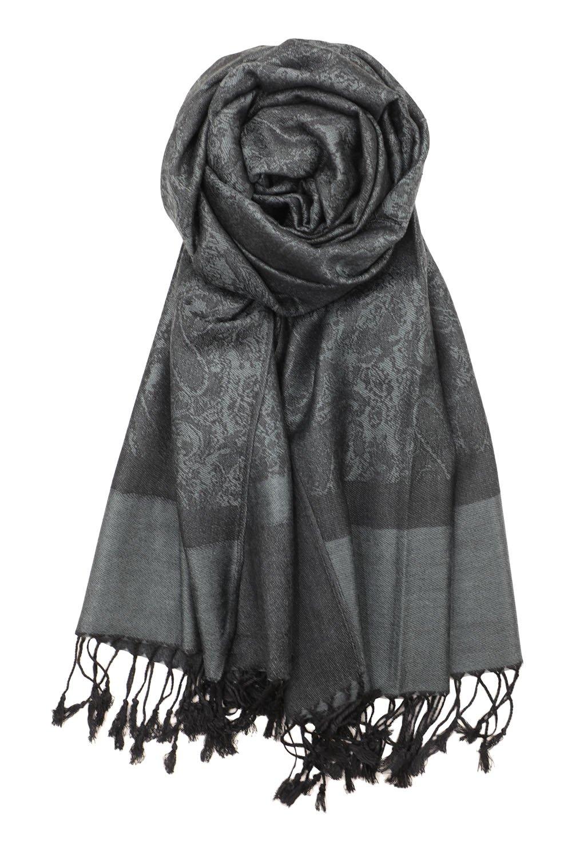 Achillea Women's Two Tone Vintage Jacquard Paisley Pashmina Shawl Wrap Scarf (Charcoal Gray)