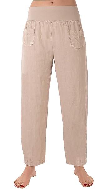 zuverlässige Leistung Neueste Mode erstaunlicher Preis FASHION YOU WANT Damen Leinenhose Größe 36/38 bis Größe 56/58 aus 100%  Leinen - leichte Sommerhose Tunnelbund mit Gummizug und 2 aufgesetzten  Taschen ...