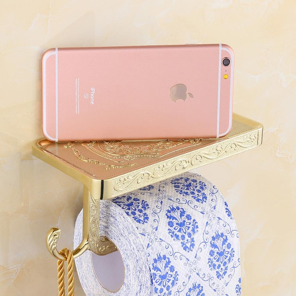 SSBY Rustic toilet paper holder, bathroom tissue holder zinc alloy, unique and creative, open paper plane, chic designs , Gold-plated carve patterns or designs on woodwork