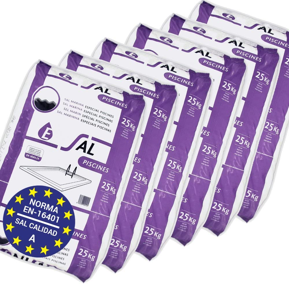 Pack de 150 Kg (6 Sacos de 25 kg.) ENISAL Sal Especial Piscinas – Cumple con la Norma Europea EN 16401/A (Sal Calidad A para Piscinas de electrólisis Salina)