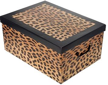 Sehr Große Aufbewahrungs Box mit Deckel mit Leoparden-Muster Kiste  KT63