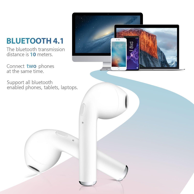 Peloo TWS Auriculares in-ear inalámbricos Bluetooth, Bluetooth 4.2 Manos libres Bluetooth Auriculares inalambricos para iPhone X/8/7/7 Plus/6/6S Plus y ...