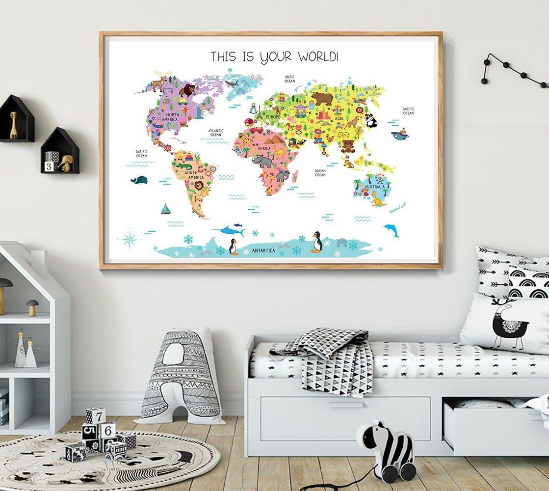 Amazon.com: World Map Kids room art, Nursery art, Nursery ...
