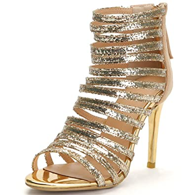 8e51b0363f962 Vimisaoi Women's 2046 Spring Summer Gladiator Sandals Lace-up Wrap Stilettos  Thin High Heel Soft