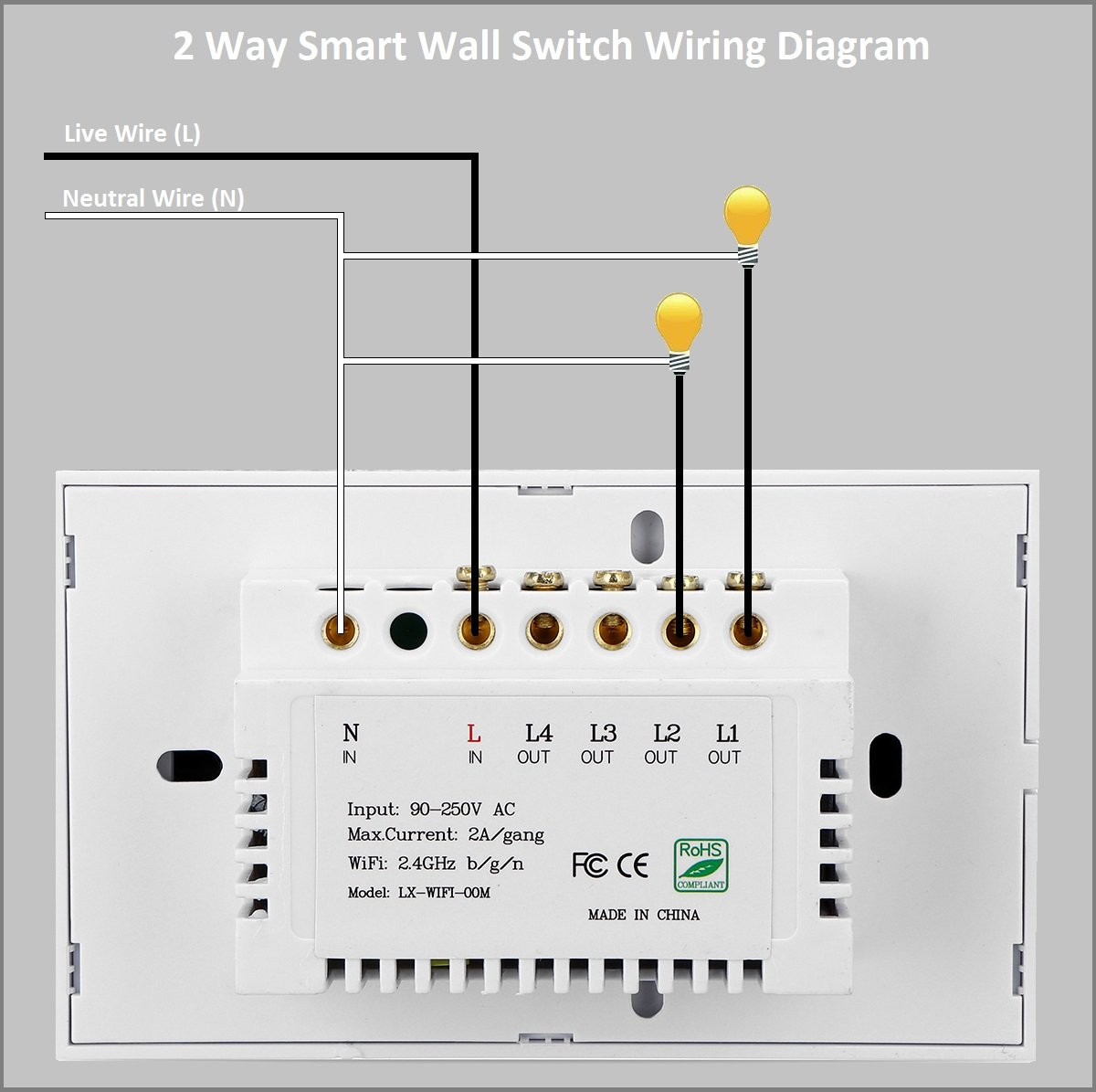Wifi Smart Remote Light Switch Wall Touch Wireless Voice 3 Way Wiring Diagram Basic Circuit Breaker Sizing Iphone Control And Timer Work With Amazon Alexa Echo Google Home Your