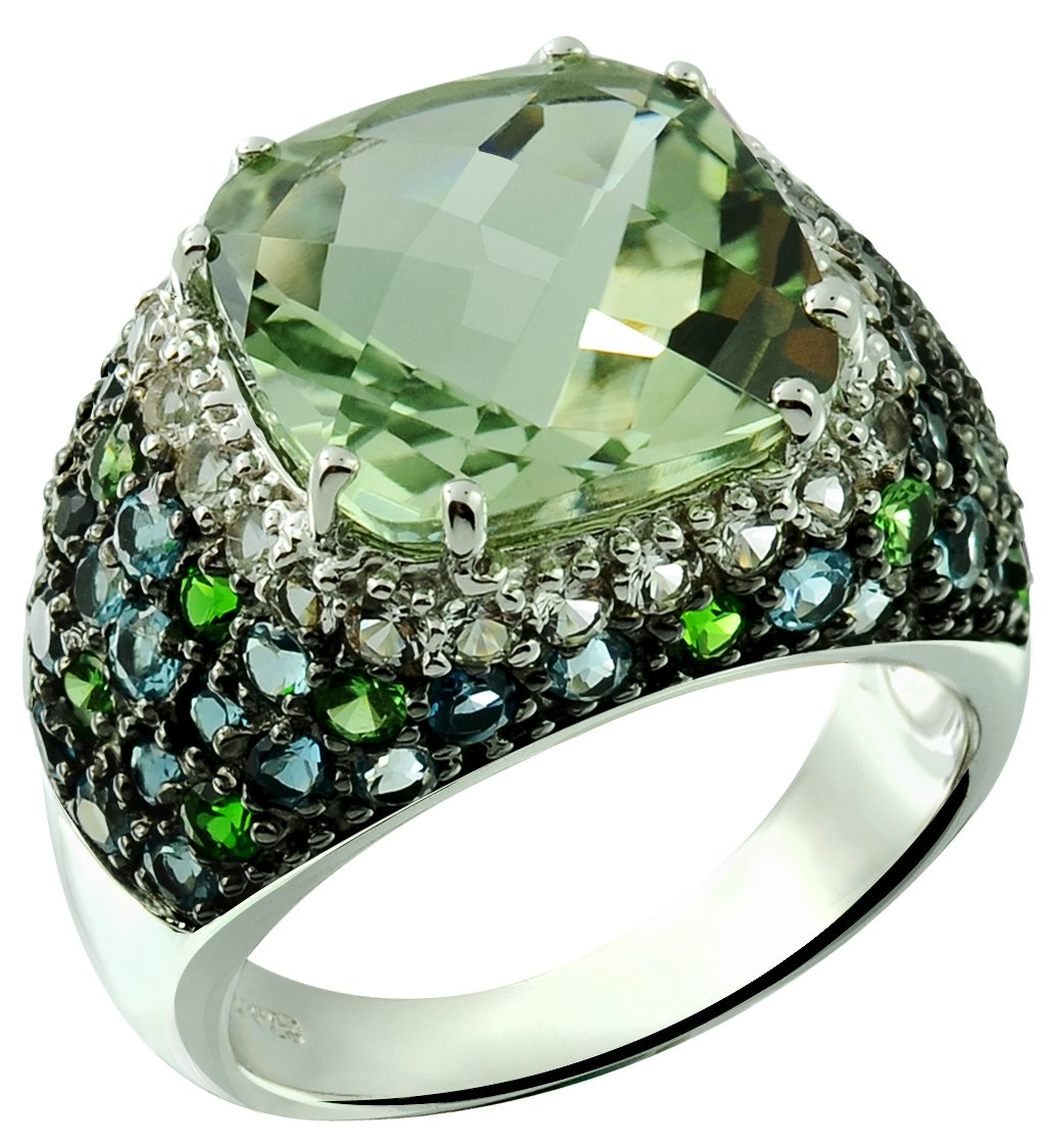 9.74 Carats Green Amethyst with London Blue Topaz Rhodium-Plated 925 Sterling Silver Ring (8)