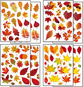 HAOYUNTE Fall Leaves Window Clings Stickers Thanksgiving Maple Decals Decorations Autumn Decals Party Decor Ornaments,8 Sheets 174Pcs