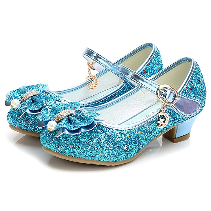 Walofou Big Girls Mary Jane Glitter Shoes For Big Girls Size 3 Blue Wedding High Heel Shoes Girls Size 2 11 Yr Bridesmaid Flower Girl Cosplay Princess