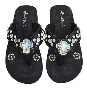 687212079 Montana West Womens Flip Flops Shiny Bling Straps AB Crystal Cross Black