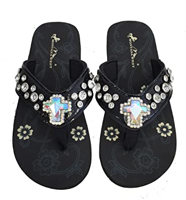 9543725171356 Montana West Womens Flip Flops Shiny Bling Straps AB Crystal Cross Black