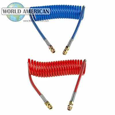 World American WA451036N Coiled Hose 1Red and 1Blue 36-inch: Automotive