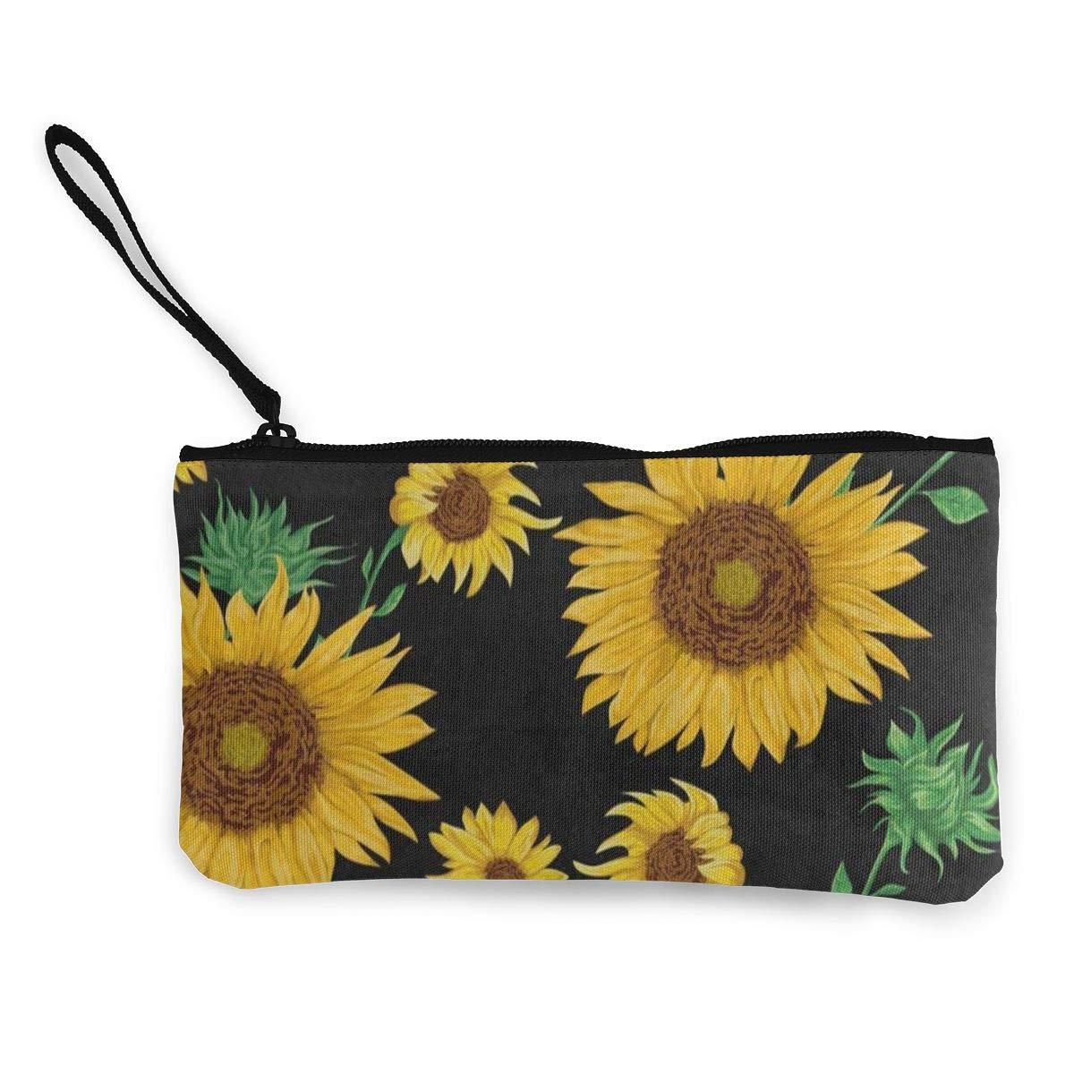 Canvas Coin Purse Summer Floral Flower Sunflower Brown Customs Zipper Pouch Wallet For Cash Bank Car Passport