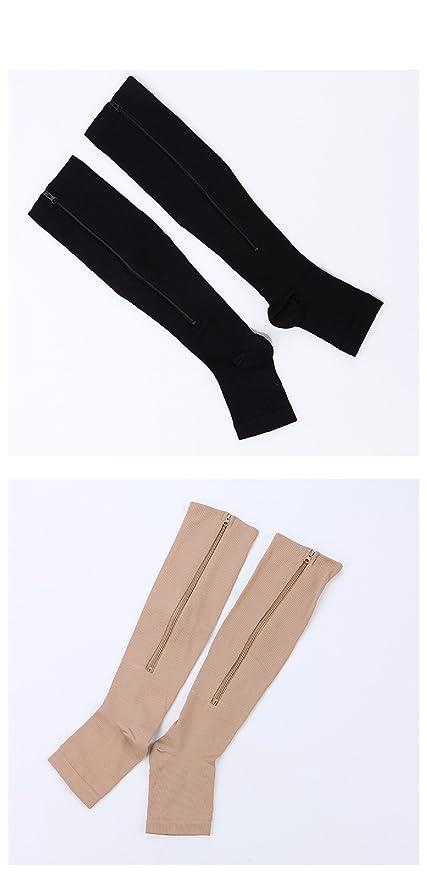 059684270a1b35 Param Men Women Zipper Compression Socks Thin Leg Burn Fat Leg Support Knee  Sox Open Toe