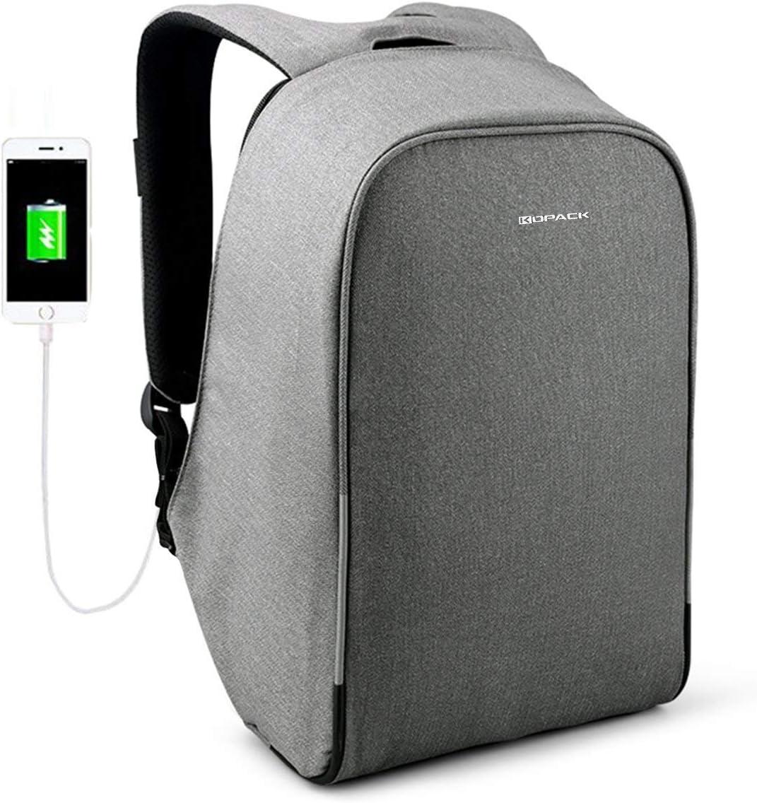 KOPACK Waterproof Anti-Thief Laptop Backpack USB Charging Port Business Travel Backpack Bag Men Women Rain Cover 15.6 Inch Grey