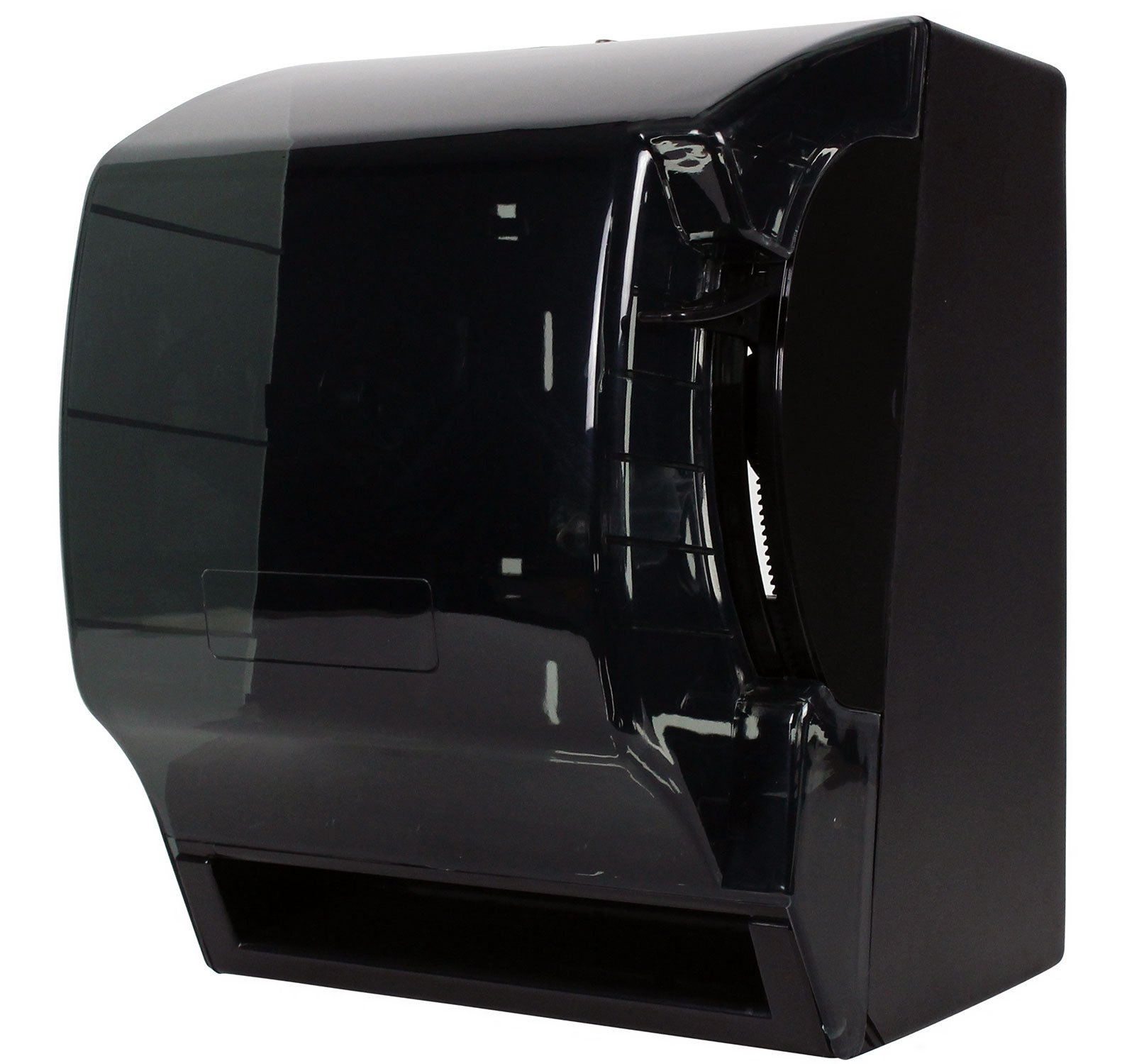 Janico 2008 Commercial Paper Towel Dispenser Wall Mount - Push Down Lever Roll, Translucent Black