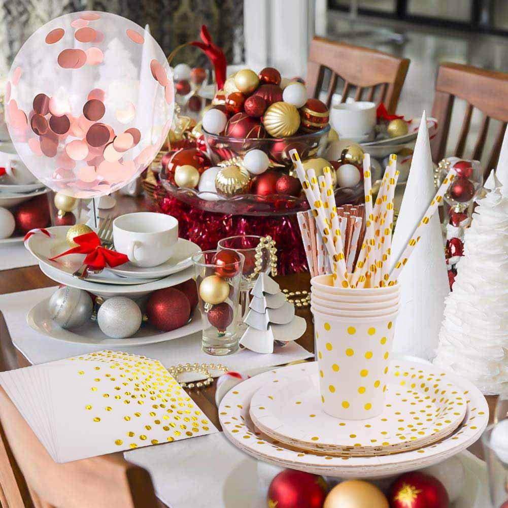 INTVN 80 Piezas Suministros de fiesta fiesta vajilla Cuchillos y cucharas de papel de aluminio platos servilletas tazas pajitas para bodas,cumplea/ños para 8 invitados,Vajilla Desechable Biodegradables