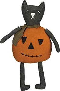 Primitives by Kathy Halloween Jack O'Cat Doll, 6.5 x 13-Inch, Black