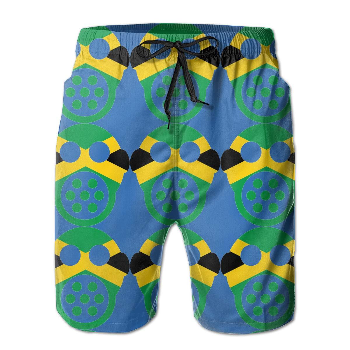 Jamaican Mask Mens Swim Trunks Bathing Suit Beach Shorts