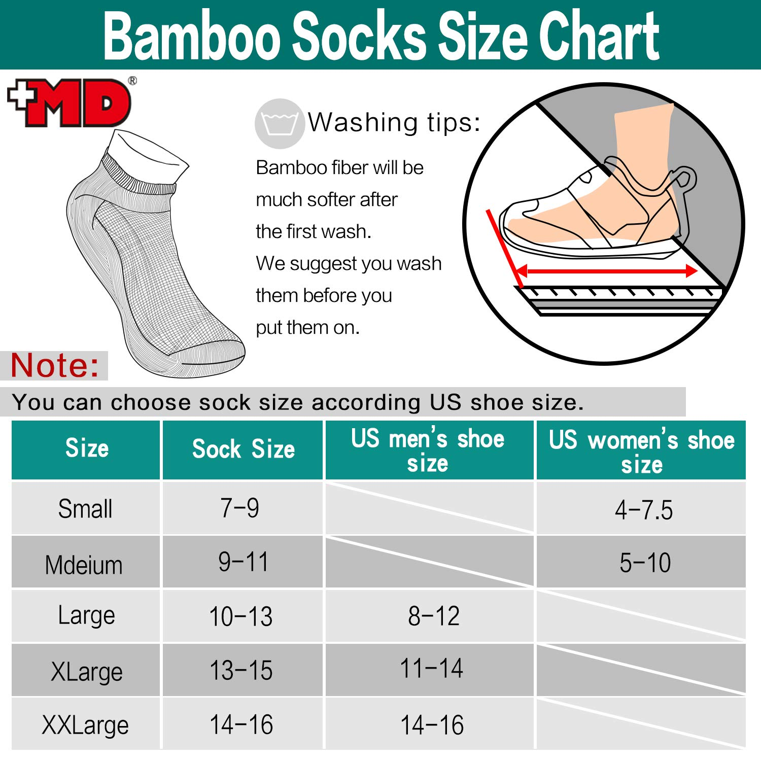 +MD 6 Pack Mens Moisture Wicking /& Odor Control Bamboo No Show /& Low Cut Athletic Socks