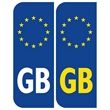 Front And Back Euro Gb Badge Car Number Plate Vinyl Stickers