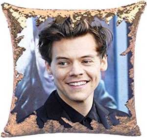 Harry Sequin Throw Pillow Cover,Magic Reversible Funny Mermaid Throw Pillow Case Change Color Decorative Accent Pillowcase 16x16 inches(Champagne Gold)