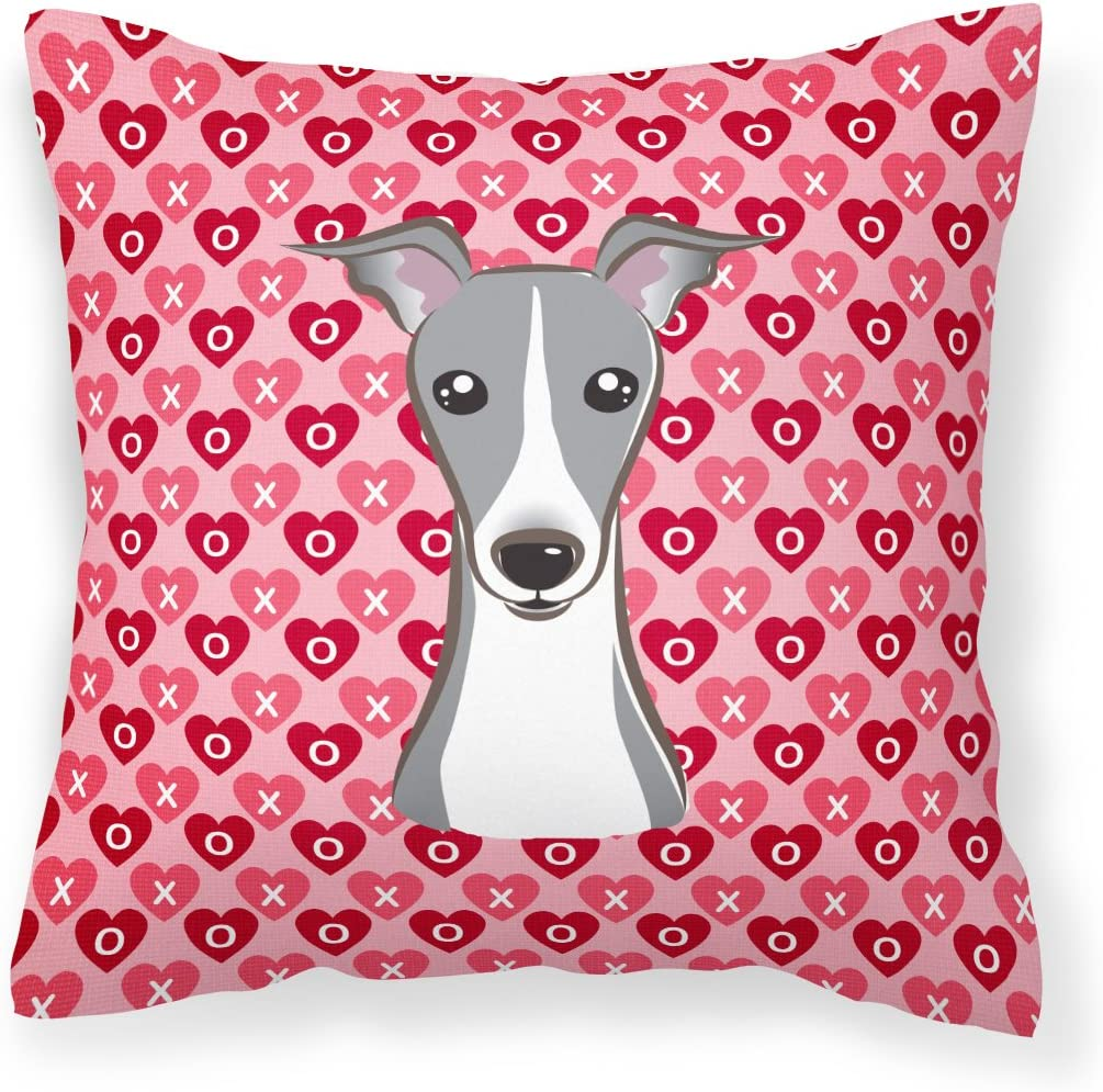 Caroline s Treasures BB5306PW1818 Italian Greyhound Hearts Fabric Decorative Pillow, 18H x18W, Multicolor