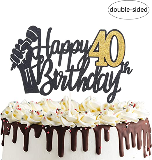 Incredible Amazon Com Happy 40Th Birthday Cake Topper With Microphone Cheers Personalised Birthday Cards Petedlily Jamesorg