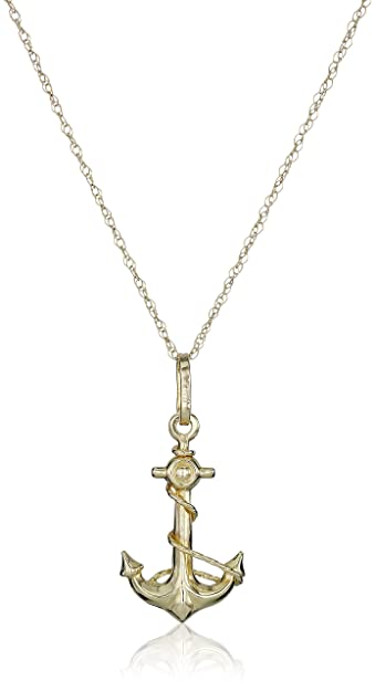 Amazon 14k yellow gold petite anchor pendant necklace 18 jewelry 14k yellow gold petite anchor pendant necklace 18quot aloadofball Choice Image