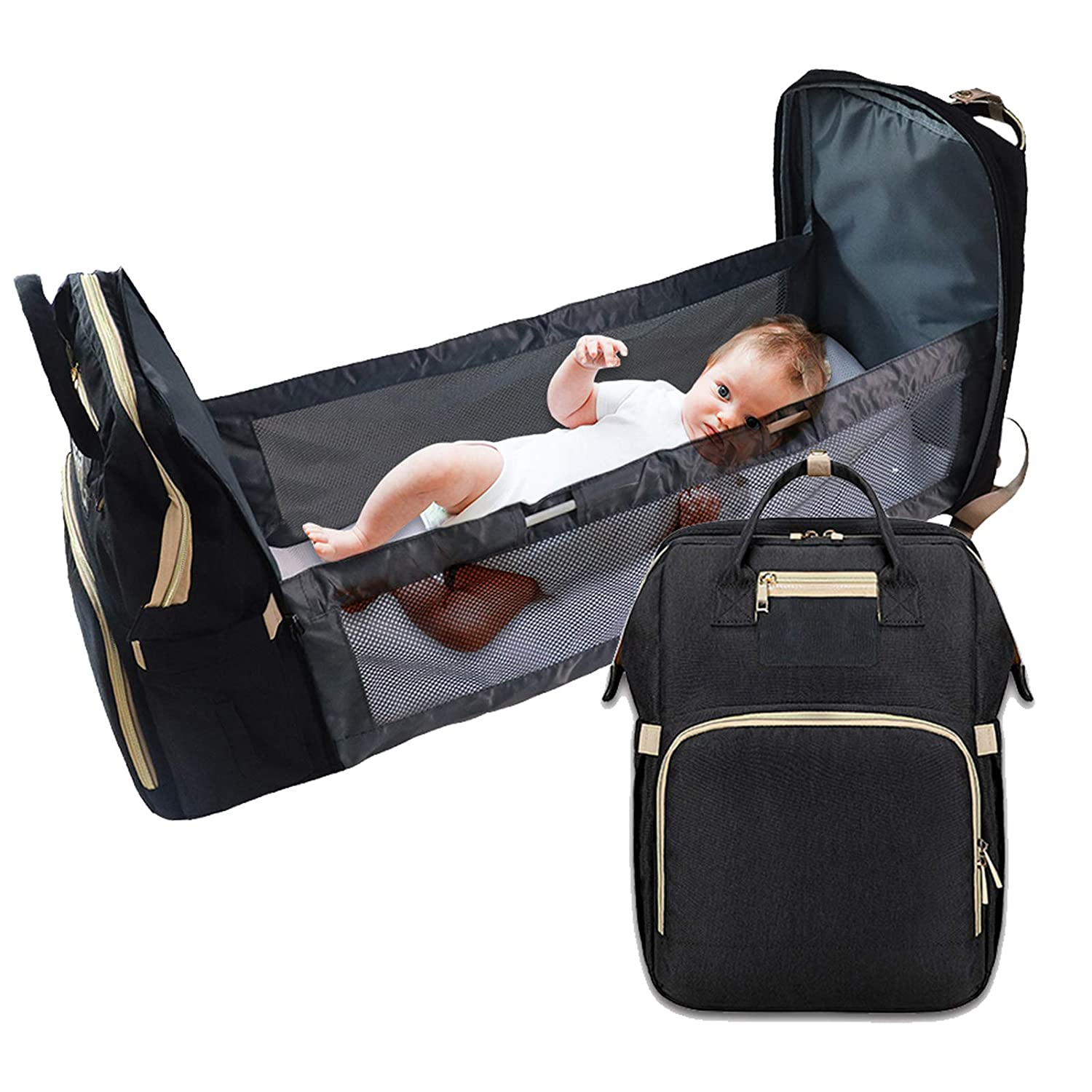 0-12 Months Portable Diaper Changing Station Lightweight Mummy Bag Backpack Nappy Changing Bags Lightweight Crib Multifunctional Baby Travel Cot Waterproof Foldable Baby Cot Bed for Baby Care