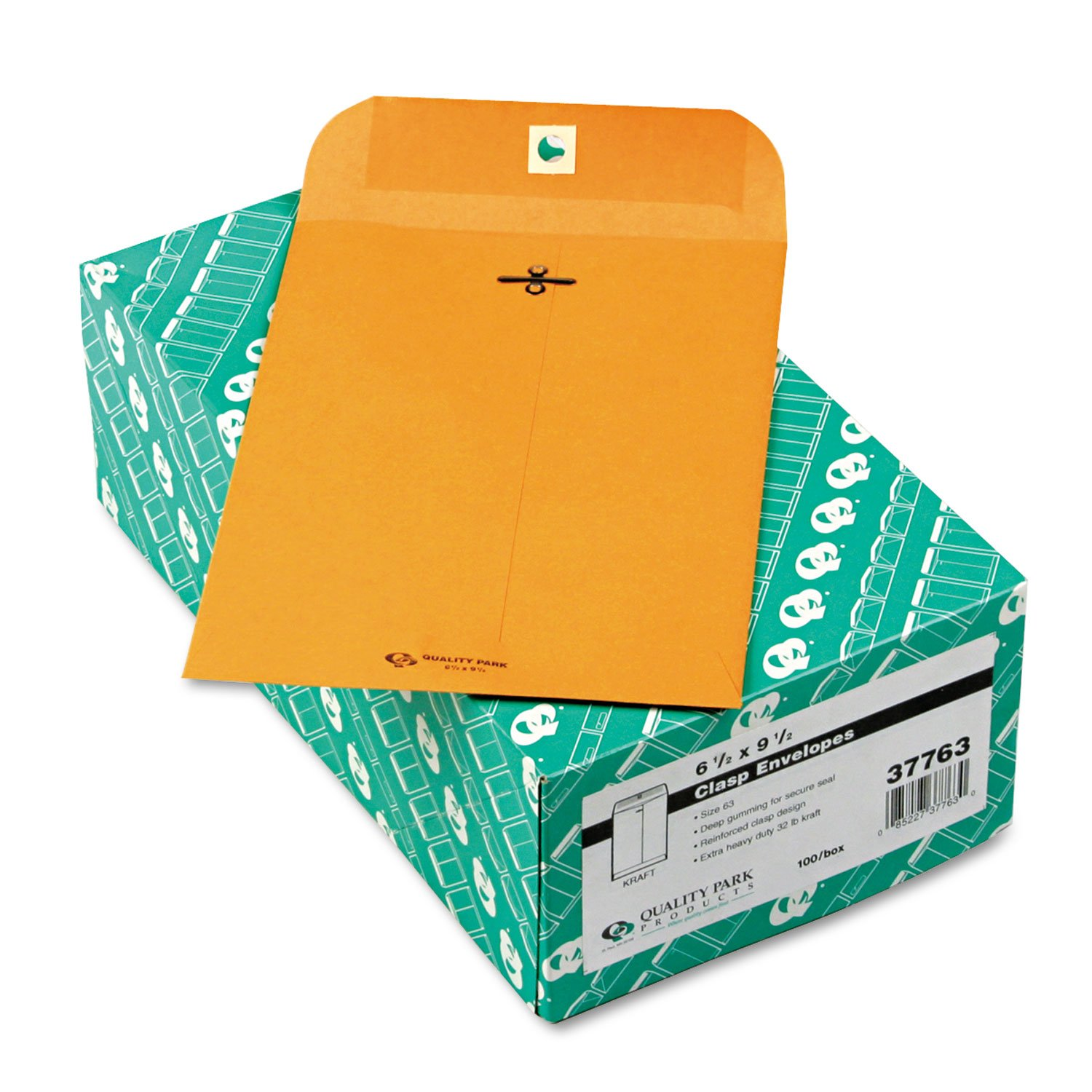 Quality Park 37763 Clasp Envelope, 6 1/2 x 9 1/2, 32lb, Brown Kraft, 100/Box