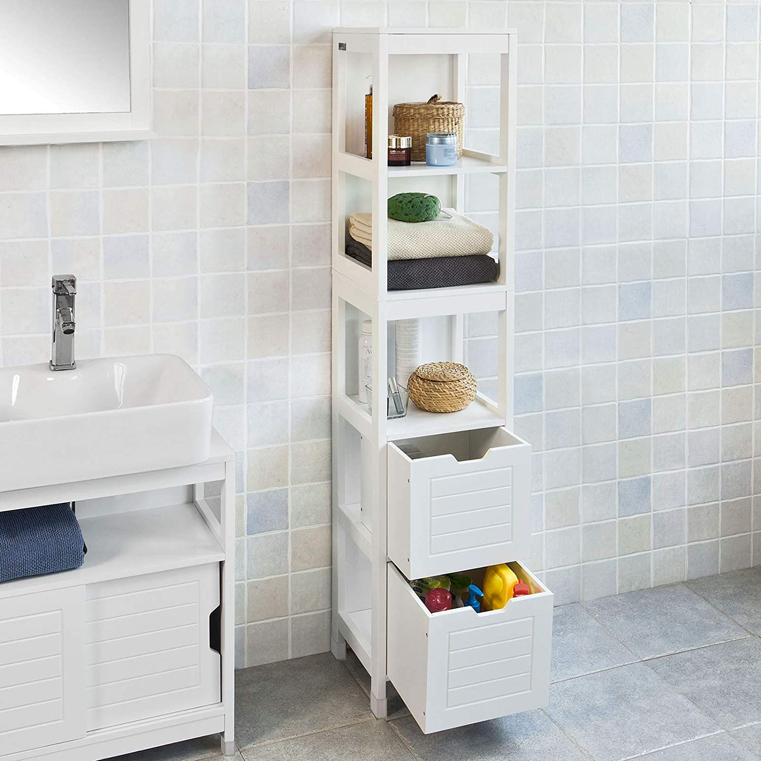 SoBuy® FRG126-W, White Tall Bathroom Storage Cabinet with 3 Shelves and 2 Drawers Frg126-w