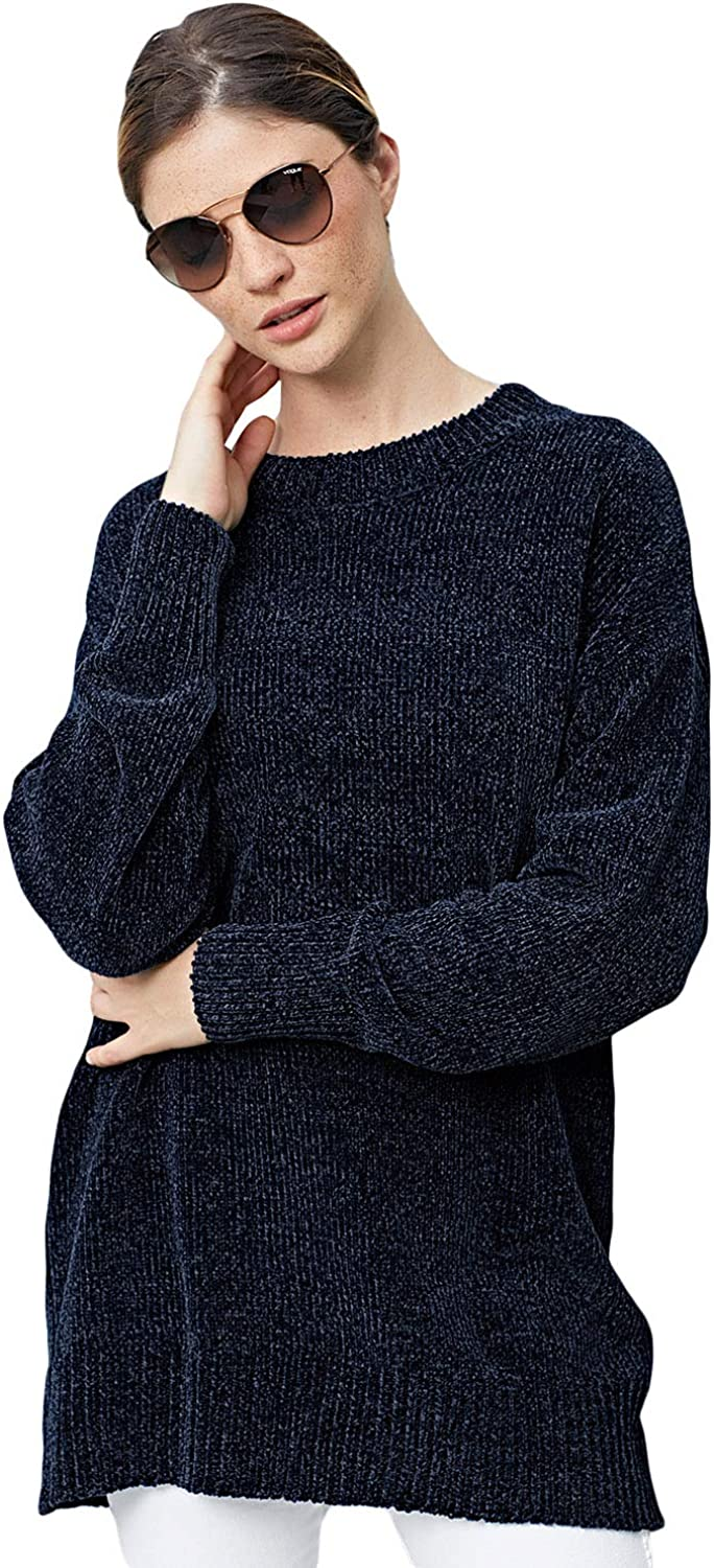 ZKESS Womens Sweaters Oversized Loose Knit Pullover Long