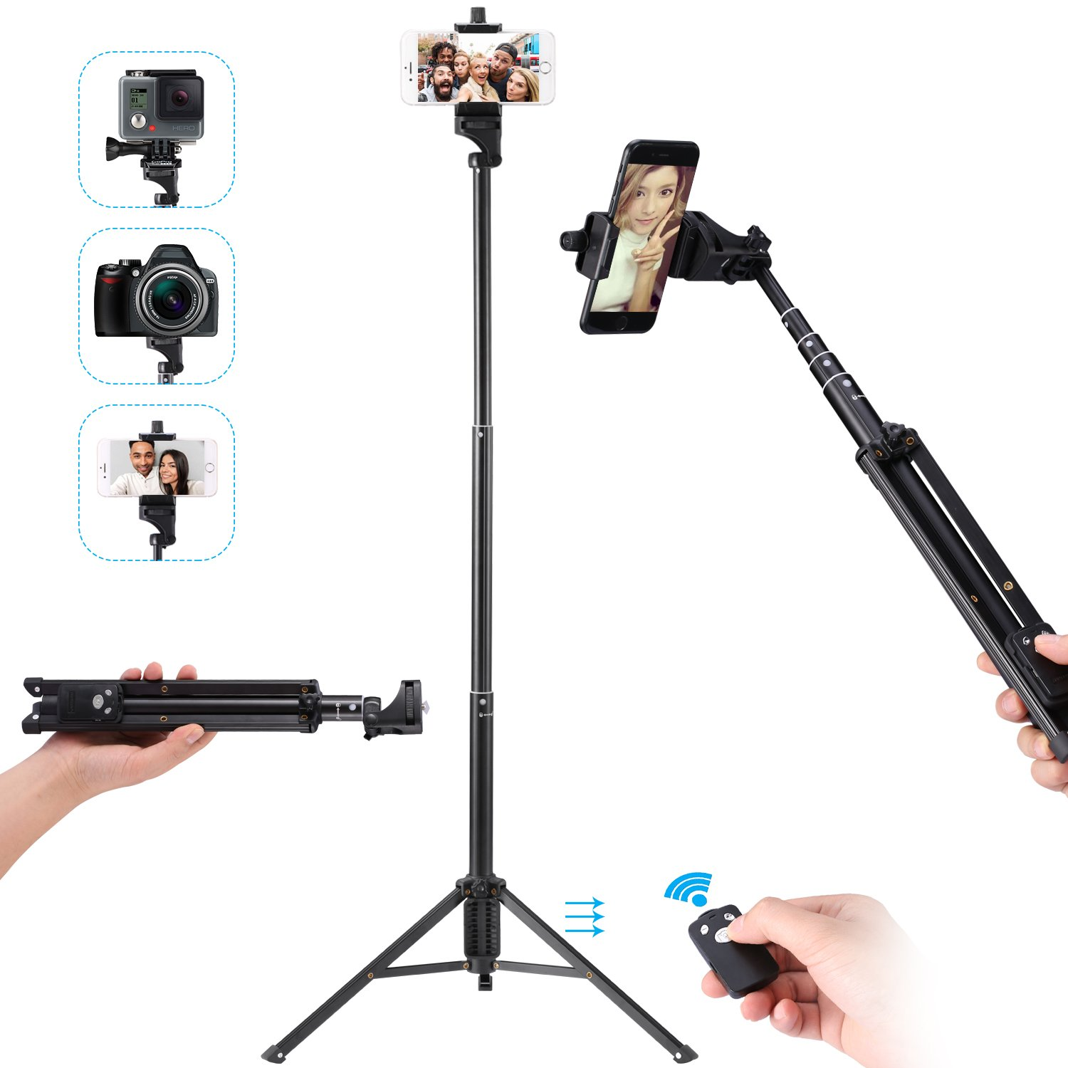 Kwithan Yunteng Selfie Stick Tripod, 54 inch Adjustable Phone Tripod, Extendable Camera Tripod for Cellphone, Camera, Gopro, Attached Wireless Bluetooth Remote for Smart Phone