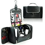 Lavievert Toiletry Bag / Makeup Organizer / Cosmetic Bag / Portable Travel Kit Organizer / Household Storage Pack / Bathroom Storage with Hanging for Business, Vacation, Household - Black