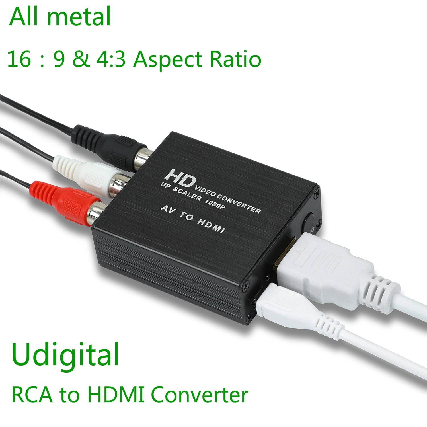 RCA to HDMI,Udigital mini RCA AV to HDMI Audio Video Adapter Converter could change aspect ratio 16:9 and 4:3 for PC Laptop Xbox PS4 PS3 HDTV STB VHS VCR Camera DVD USB Cable All metal Black by Udigital