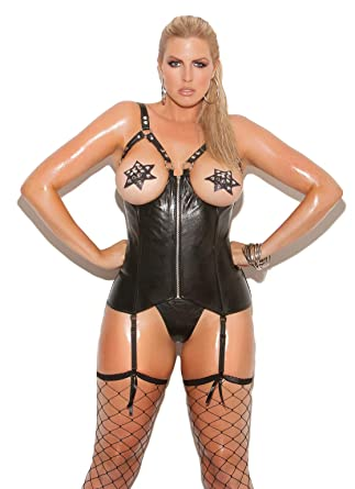 17a0a191acb Amazon.com  Hot Spot Open Bust Leather Zip Front Corset with Boning   Lace  Up Back Plus Size Lingerie  Clothing