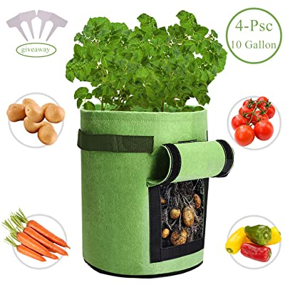 Qaxlry Potato-Grow-Bags, Potatoes Growing Containers with Handles&Access Flap for Garden, Vegetables, Tomato, Carrot, Onion, Fruits, Plants Planting Bag Planter (4 PSC) : Garden & Outdoor