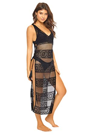 83a40e8a93 PilyQ Women's Midnight Crochet Lace Maxi Dress Swim Cover Up at Amazon  Women's Clothing store: