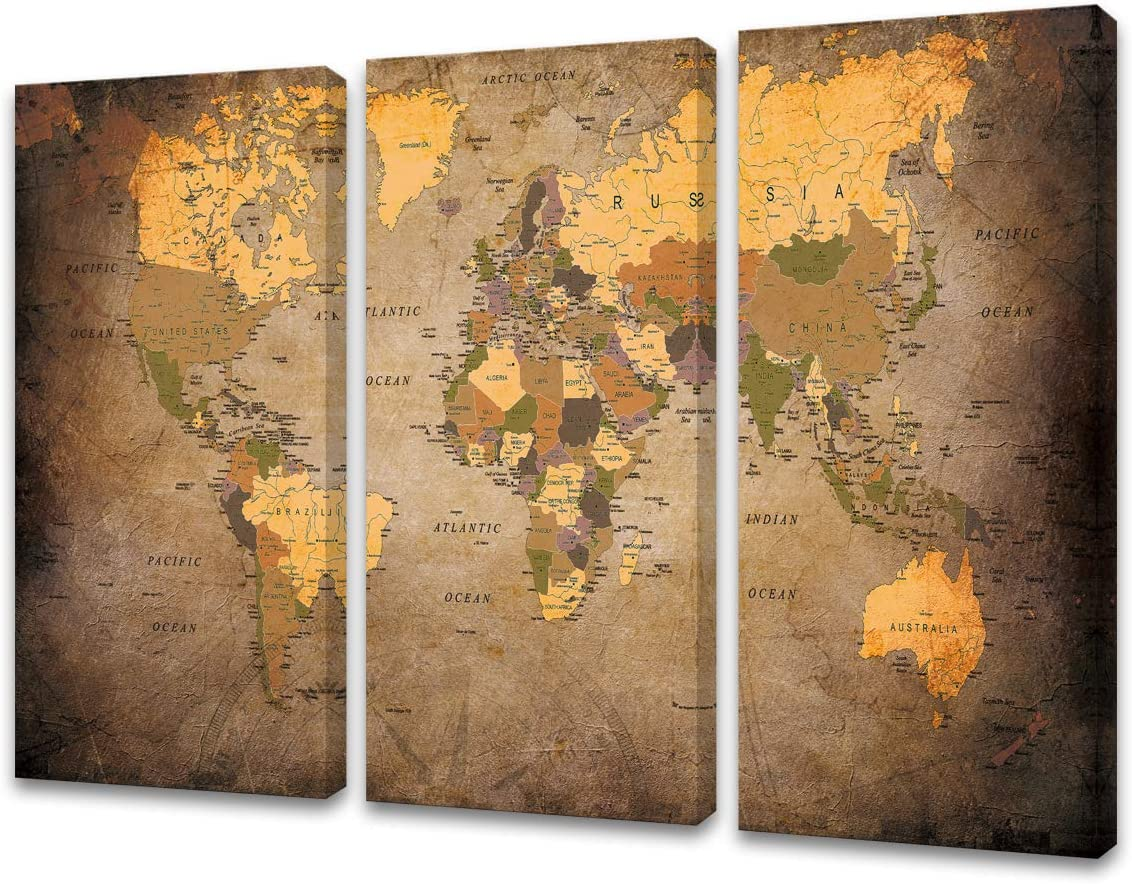 Baisuwallart A61048 3 Pieces Vintage World Map Canvas Wall Art Abstract Map Painting Framed Ready to Hang Home Office Decor Picture Prints for Living Room Bedroom Artwork