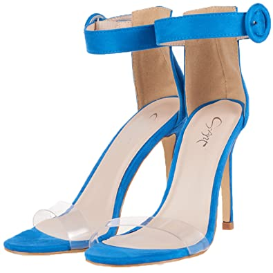 a8f6361cca4 JSUN7 Women s High Heels Stilettos Pumps One Band Open Toe Sandal with  Buckle Ankle Strap Office