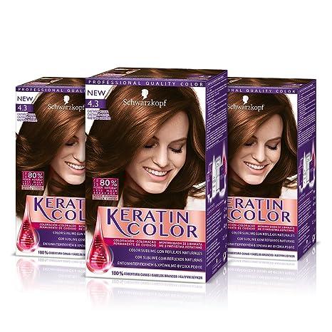 Keratin Color Cream Coloración del Cabello 4.3 Castaño Cereza - 3 Unidades
