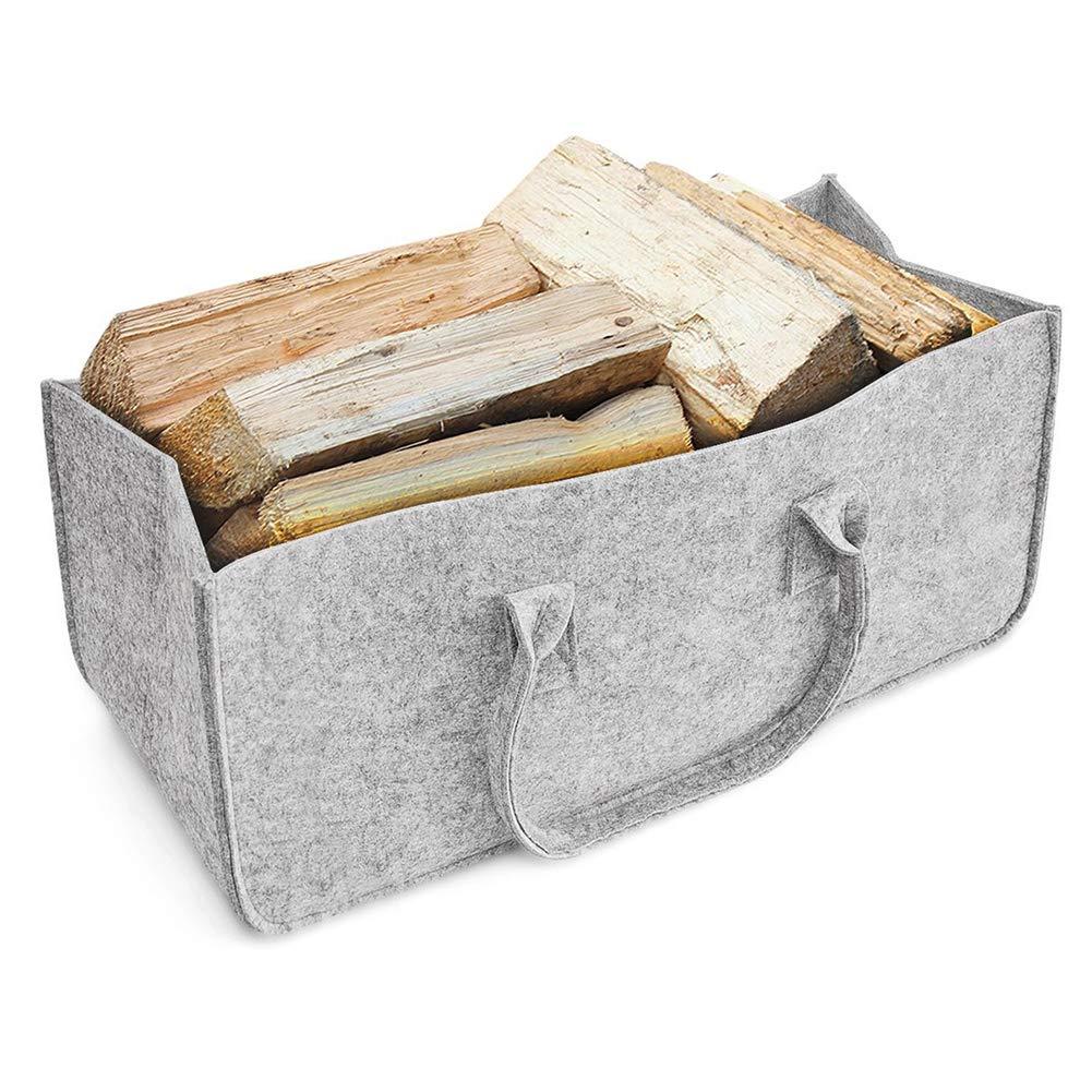 Sac en feutre, panier à provisions en bois de chauffage Panier à provisions avec porte-revues avec porte-jouets en bois journal,Grande capacité de charge jusqu'à 15 kg(Grey) Grande capacité de charge jusqu'à 15 kg(Grey)