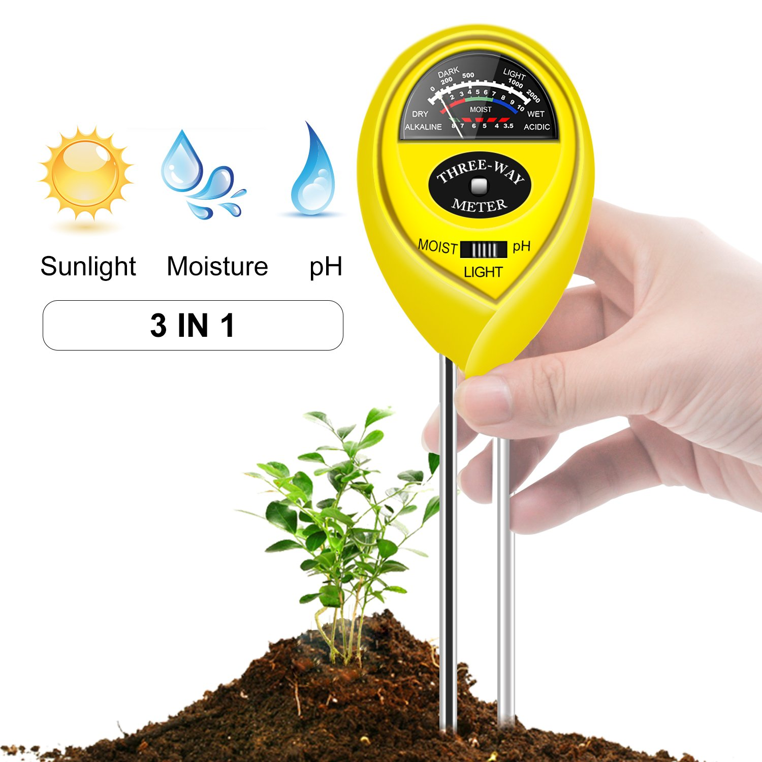 Geekroom Updated Soil pH Meter,3-in-1 Moisture Sensor Meter Acidity/Light/pH Soil Test Kits Gardening Tool Plant Water Monitor Hydrometer for Garden, Farm, Lawn, Indoor & Outdoor Use