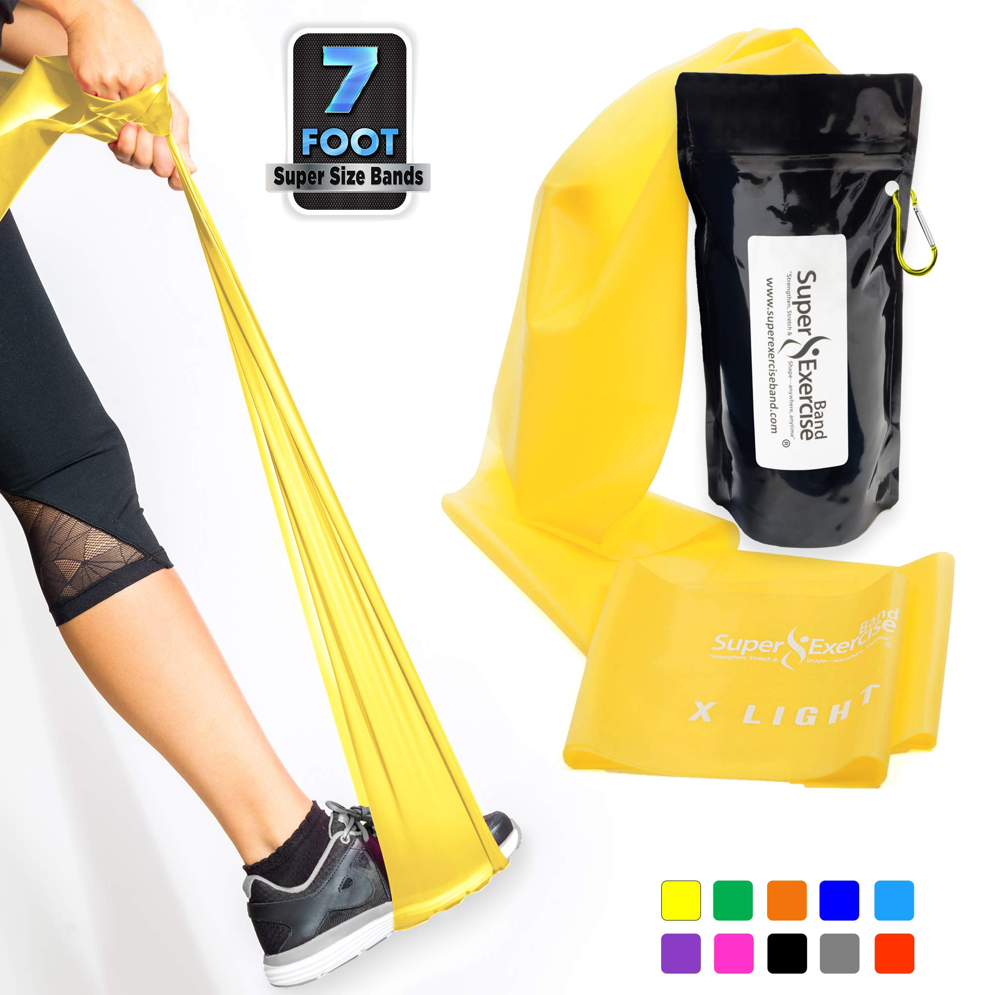 SUPER EXERCISE BAND X Light Yellow 7 ft. Long Resistance Band. Latex Free Home Gym Fitness Kit For Strength Training, Physical Therapy, Yoga, Pilates or Chair Workouts. Plus Carry Pouch & E-Book