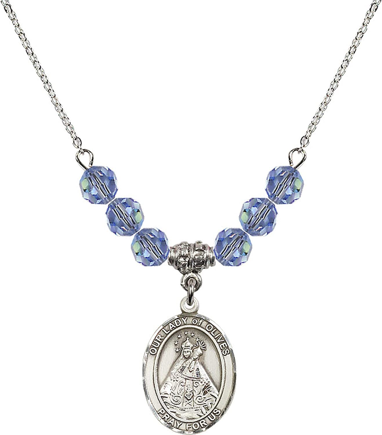 Bonyak Jewelry 18 Inch Rhodium Plated Necklace w// 6mm Light Blue September Birth Month Stone Beads and Our Lady of Olives Charm