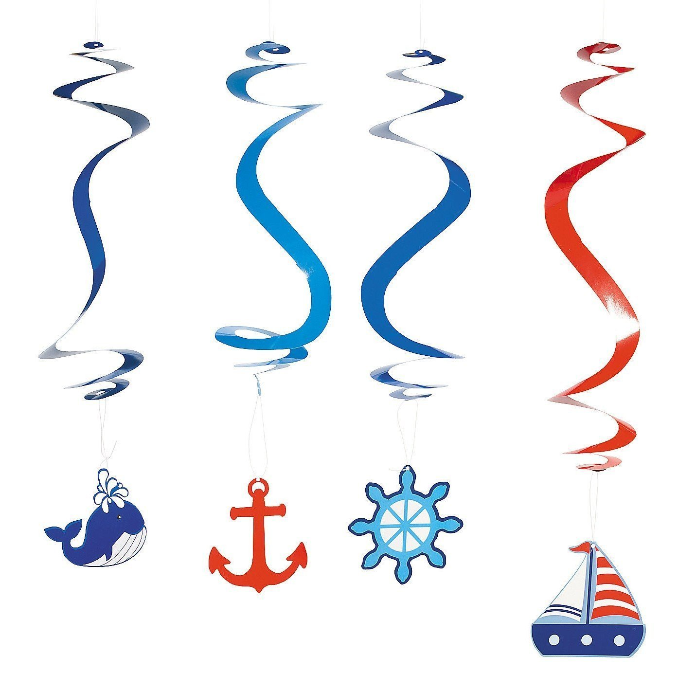 Fun Express Nautical Dangling Swirl Party Decorations (24 Count)