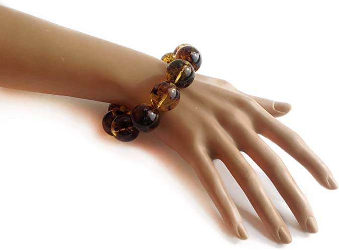 Big Size Natural BALTIC AMBER BRACELET Flat Square Beads On Cord Original Handmade Unisex Stylish Amber Jewelry 27g 10676
