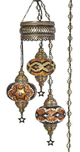 DEMMEX Turkish Moroccan Mosaic Plug in Swag Pendant Lamp Light Fixture Plugged Chandelier, US Plug with 15feet Chain – Customizable Colors 6.5 X 3 Globe Chandelier