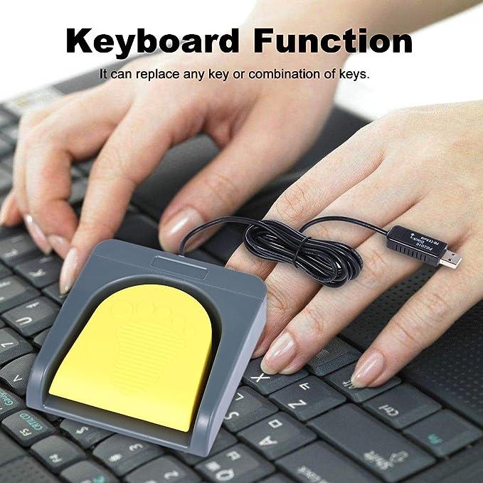 Docooler PCsensor USB solo pie interruptor control una llave personalizada teclado ordenador acción pedal gris con amarillo