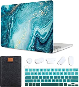 MAITTAO 4 in 1 Laptop Case for MacBook Pro 13 inch 2020 Release Model A2289 / A2251, Plastic Pattern Hard Shell Case & Laptop Sleeve Bag & Keyboard Skin Cover for Mac Pro 13 Inch Touch Bar, Marble 7